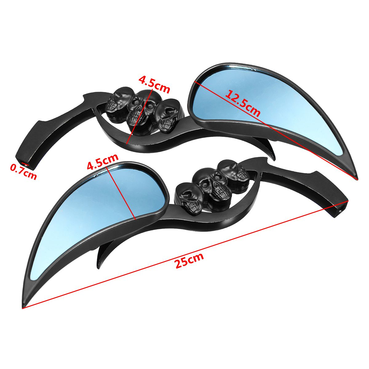 Universal Aluminum Skull Flame Rearview Wing Mirrors For Harley Motorcycle