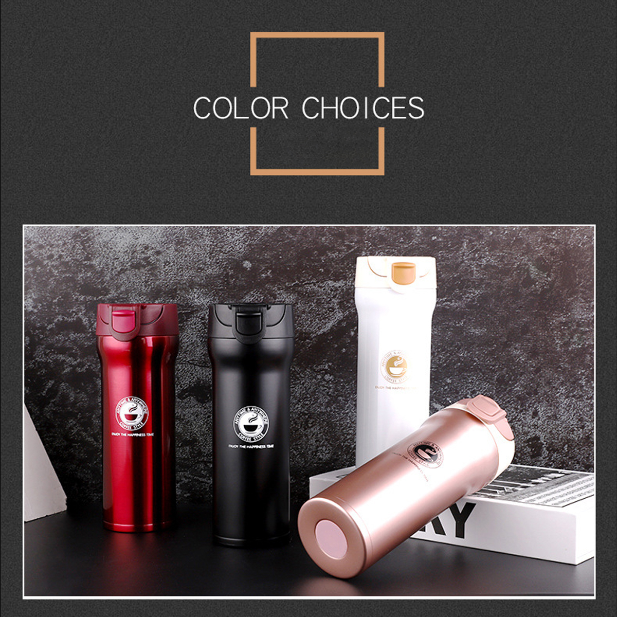 400ML Vacuum Cup Water Bottle Food Grade Stainless Steel Insulated Thermos Tea Coffee Drinking Mug