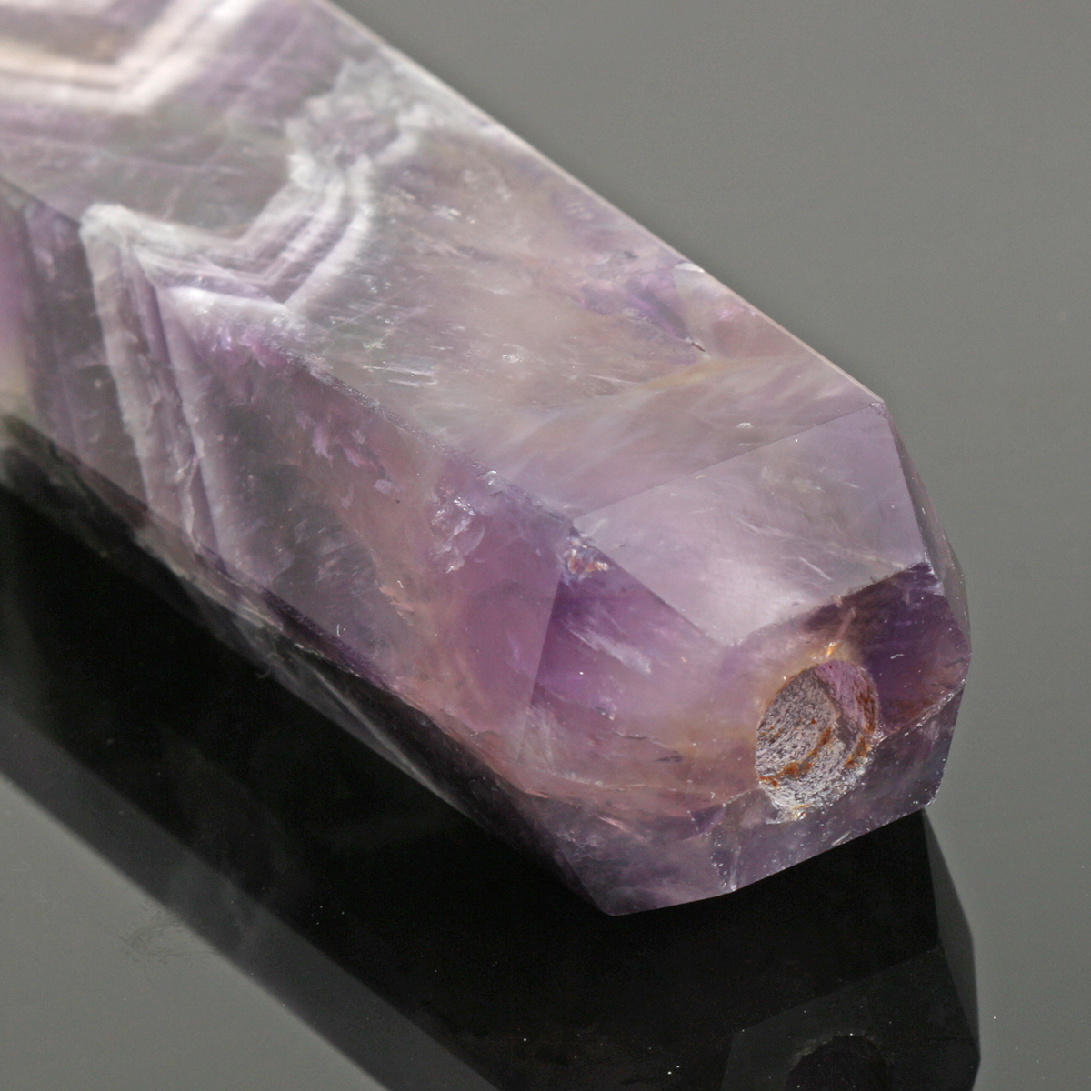 Natural Purple Amethyst Quartz Crystal Wand Pipe Healing with Carb Hole