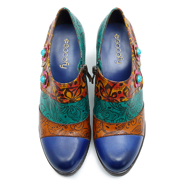 SOCOFY Retro Handmade Flower Leather Pumps