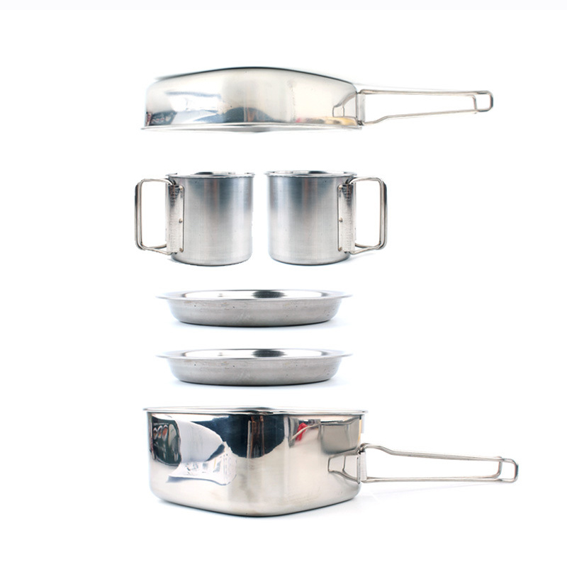 Outdoor Picnic Pot Pan Kit Stainless Steel Tableware Plate Bowl Cup Pan Cover for Camping Cooking