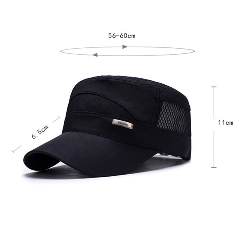 Hollow Out Patchwork Military Hat Adjustable Flat Top Cap