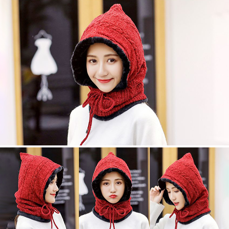 Winter Thicken Plus Velvet Cycling Siamese Ski Knit Hat