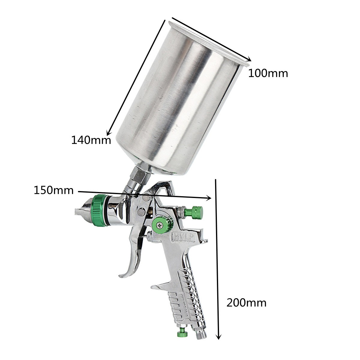 1.4mm HVLP Spray Auto Paint Tool Gravity Feed Spraying Gun Metal Flake Primer Nozzle with Gauge