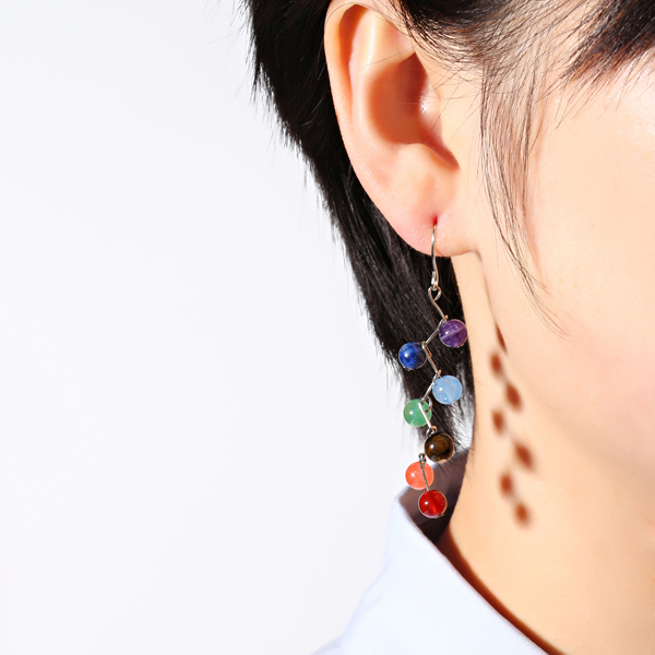 Women's Rainbow Stones Colorful Yoga Bead Dangle Earrings