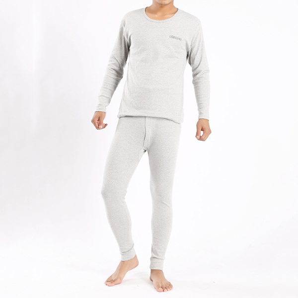 Mens Casual Solid Color Big Size Round Neck Cotton Autumn Winter Sleepwear Suits 6 Colors