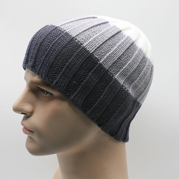 Men Stripe Knitted Winter Warm Skullies Beanies Hat