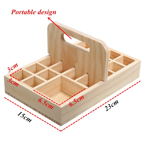 21 Grids Wooden Bottles Stand Container Organizer Storage for Essential Oil Aromatherapy