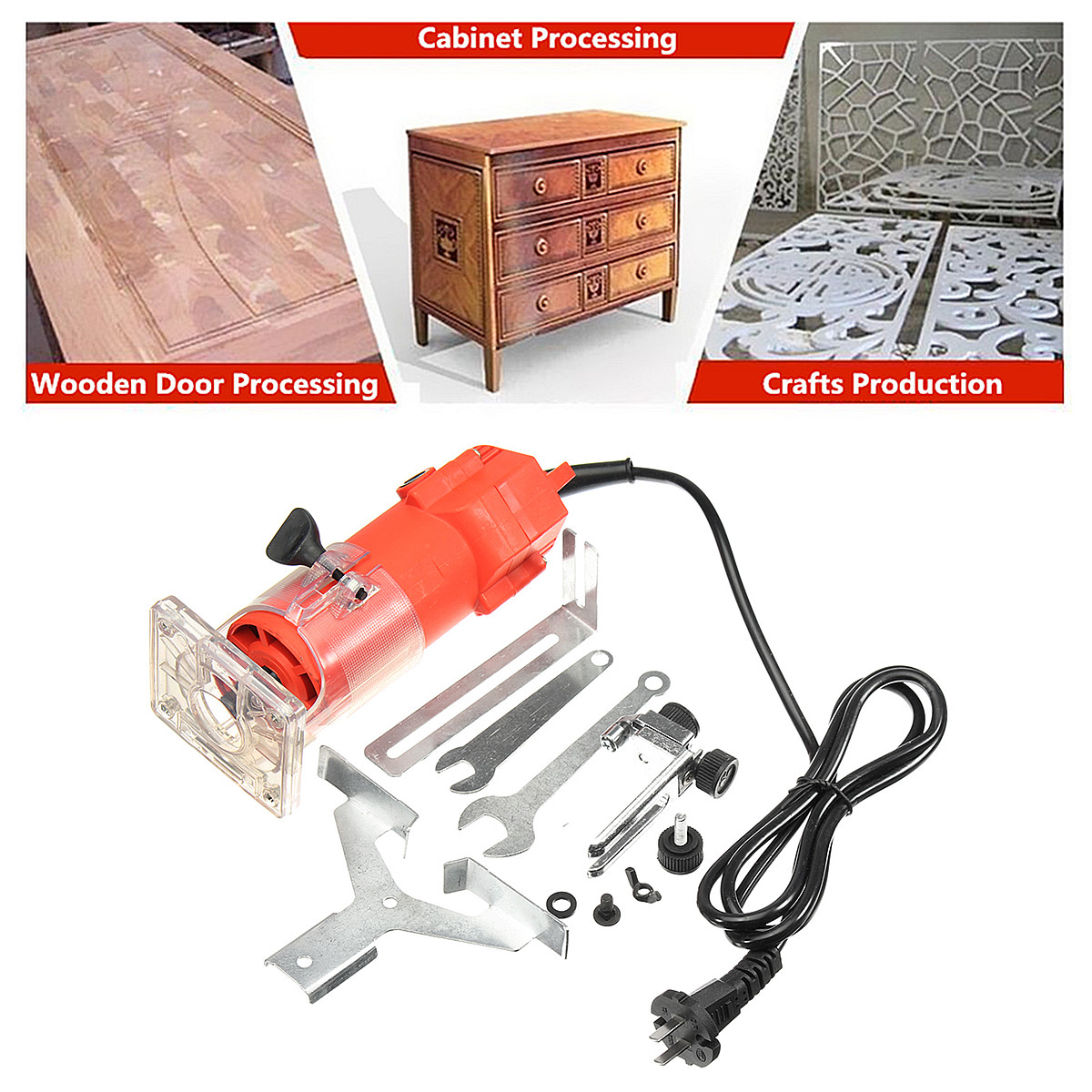 220V 450w 1/4 Inch Corded Electric Hand Trimmer Wood Laminator Router Joiners Tools