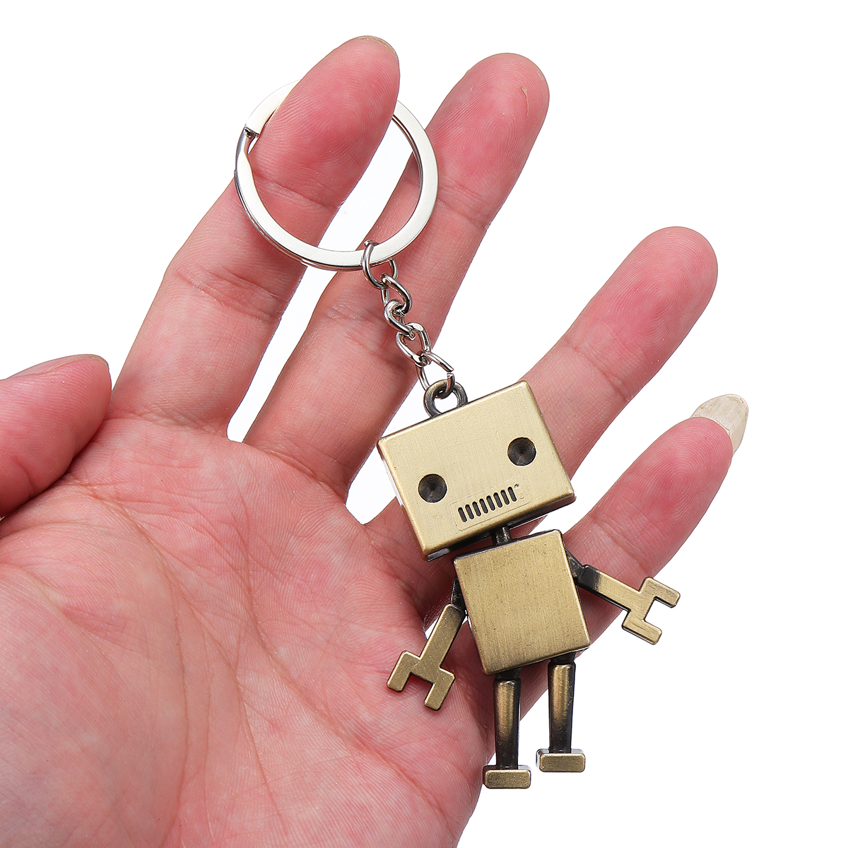 Robot Keychain Bronze Alloy Portable Car Key Chain Key Ring