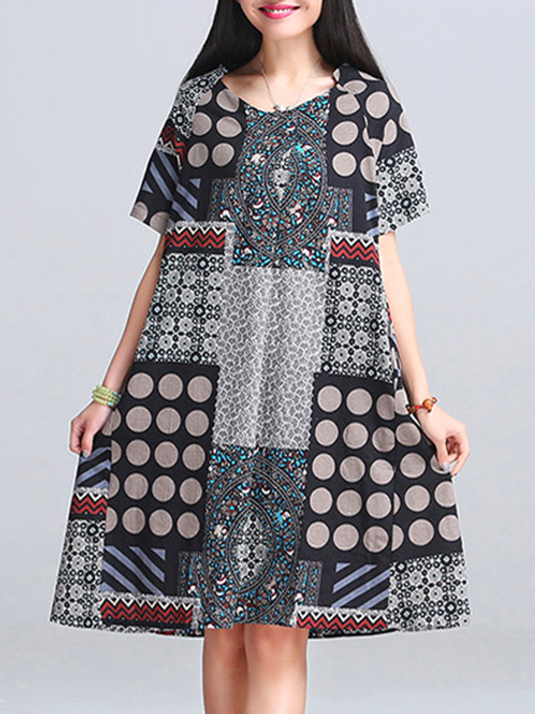 Casual Women Random Printed Short Sleeve A-Line Dresses