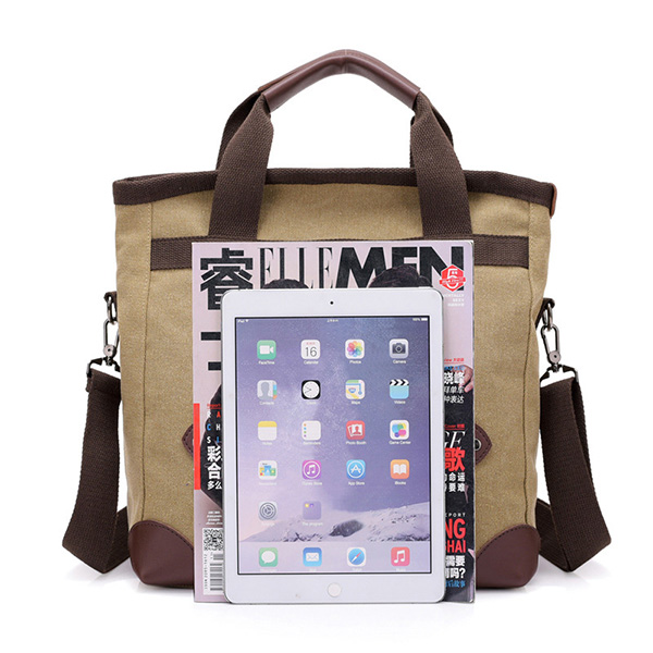 Men Retro Multi-function Large-capacity Canvas Messenger Bag Travel Backpack