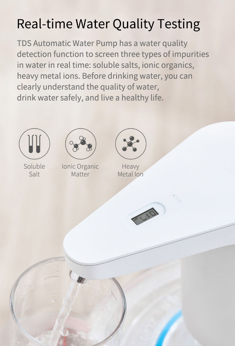 Original Xiaolang Automatic Rechargeable USB Mini Touch Switch Water Pump Wireless Electric Dispenser with TDS Device from xiaomi youpin