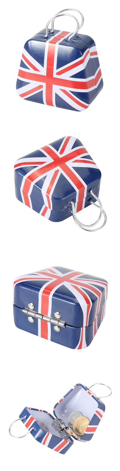 Mini Small Tin Coin Flag Box Jewelry Tea Storage Box Organizer Purse Case Piggy Bank
