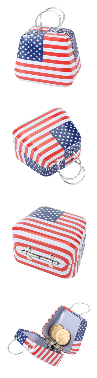 Mini Small Tin Coin Flag Box Jewelry Tea Storage Box Organizer Purse Case Piggy Bank