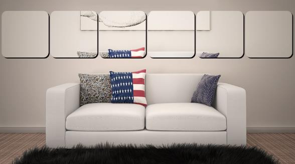 3D Multi-dimension Square Silver DIY Shape Mirror Wall Stickers Home Wall Bedroom Office Decor