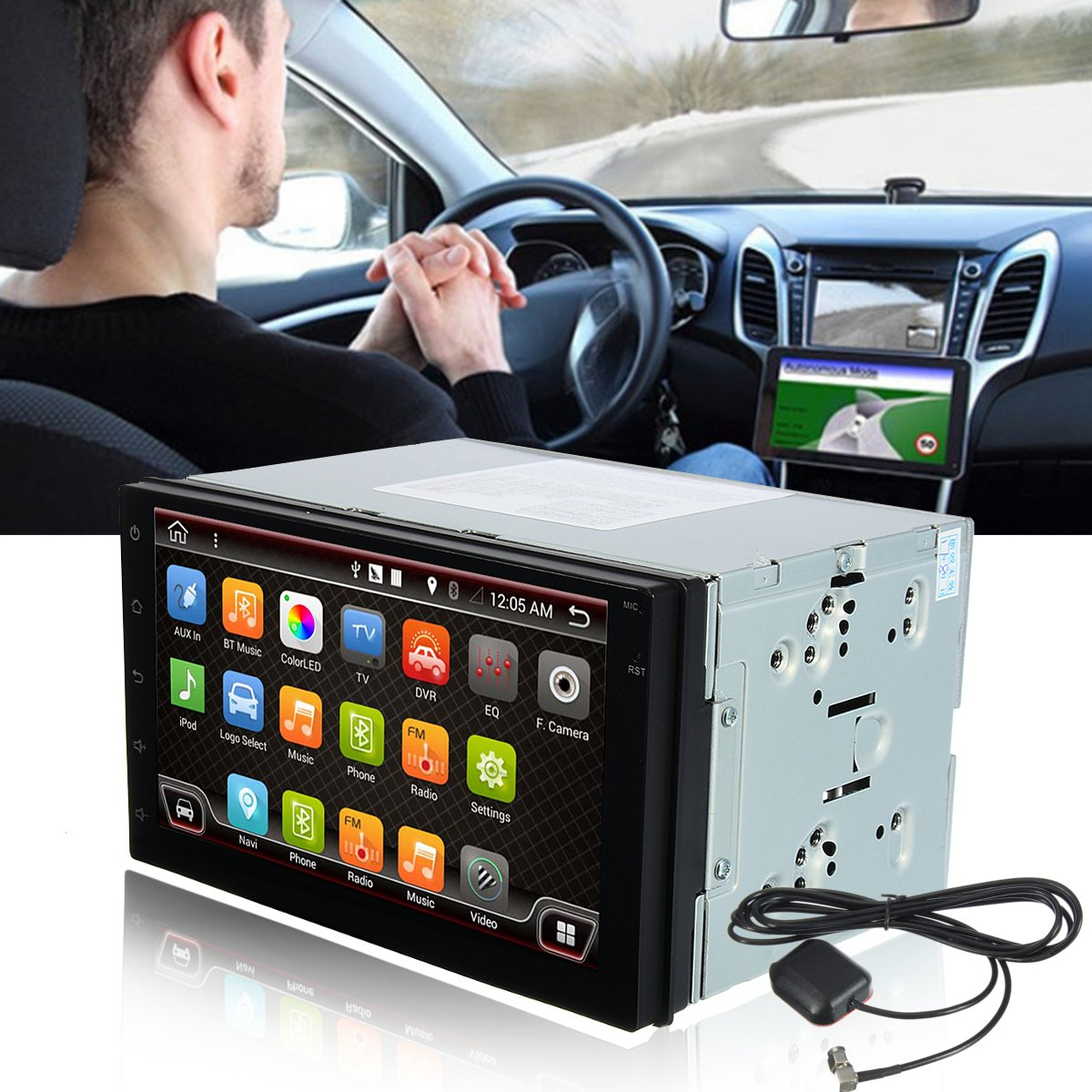 7 Inch Android 6.0 Double 2 DIN Sat Navigation Car GPS Navigation Stereo DAB