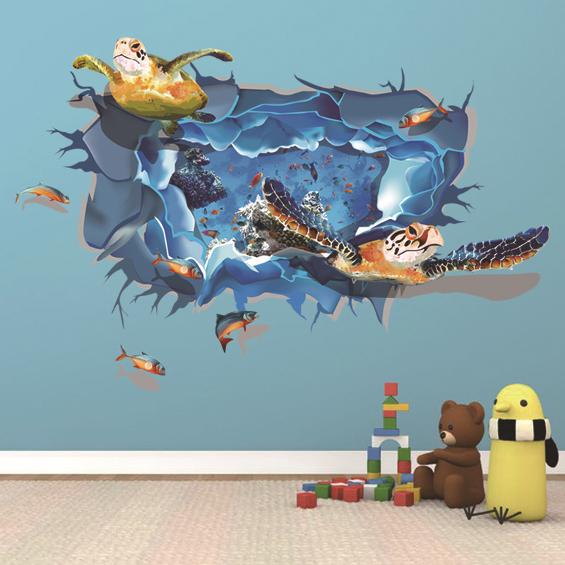 Miico 3D Creative PVC Wall Stickers Home Decor Mural Art Removable Sea World Wall Decals
