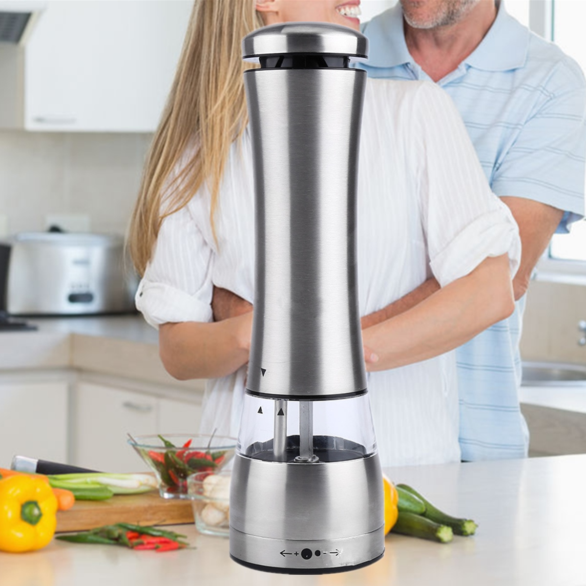 Automatic Electric Pepper Mill Shakers Stainless Steel Adjustable Salt Pepper Grinder