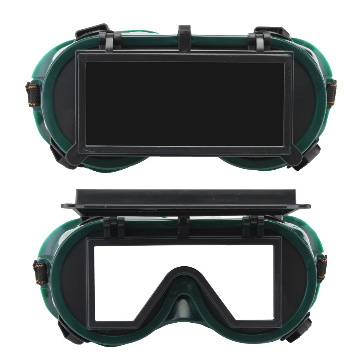 Industrial Welding Goggles Head Clamshell Protection Glasses Mask Green Square