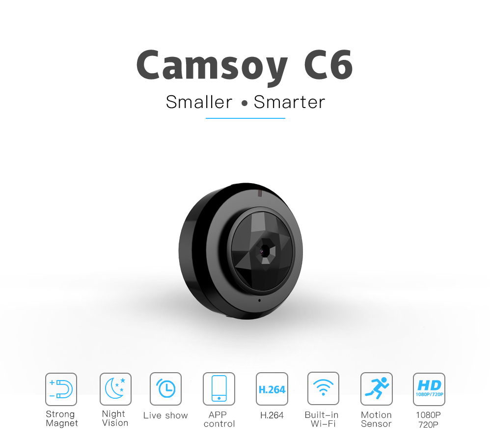 Camsoy C6 Micro WIFI Small Camera HD 720P/1080P With Night Vision IP Camera WIFI Cam Home Baby Monitors Security Video Camcorder Hidden