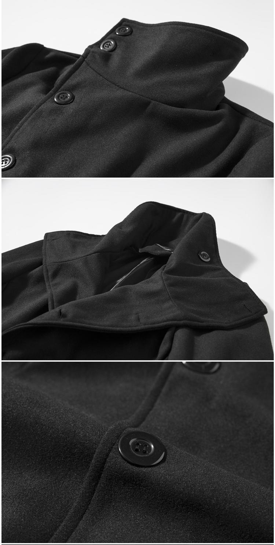 Mid Long Asymmetric Placket Stylish Collar Woolen Jackets