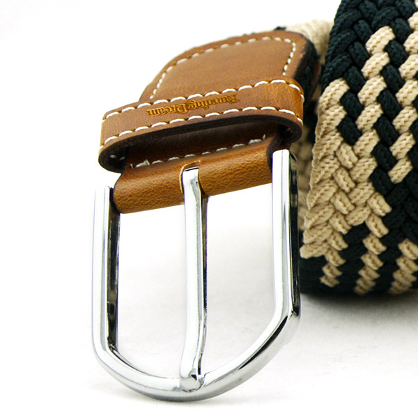 Fashion Men Women Woven Elastic Stretch Waistband Casual Jeans Belt