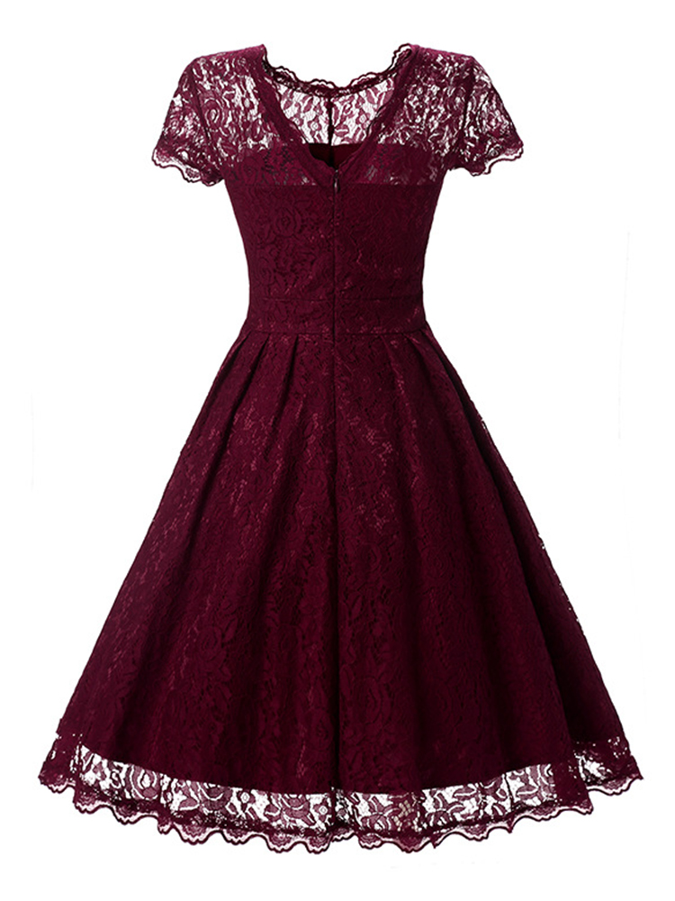 Vintage Women Lace Patchwork Short Sleeve Dresses
