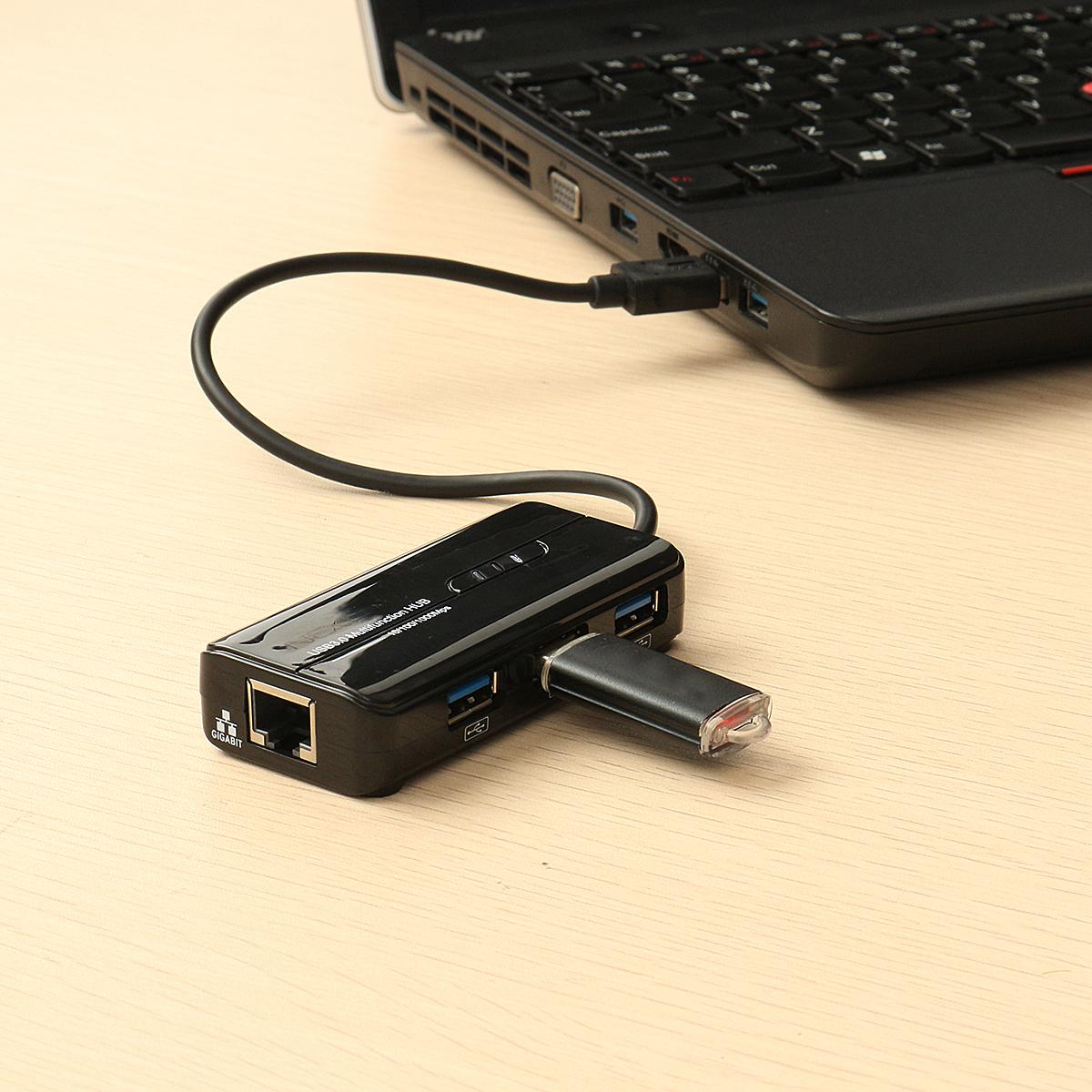 USB 3.0 to RJ45 Gigabit Ethernet 3 USB 3.0 Port Hub Network Card LAN Adapter for Laptop PC