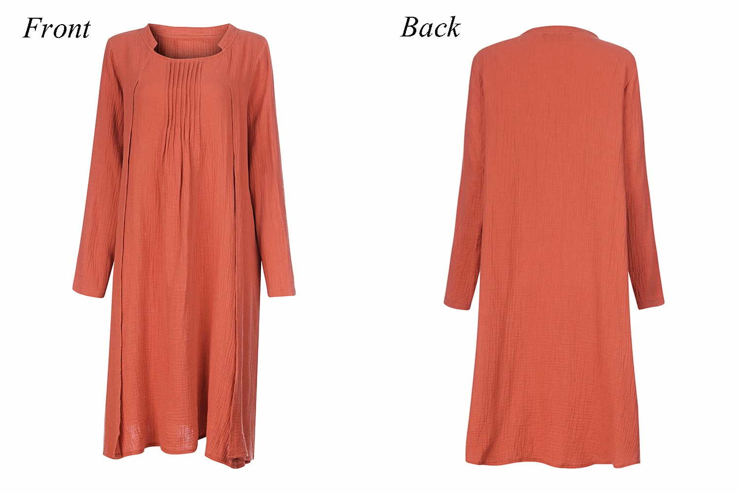 O-Newe L-5XL Casual Women Pure Color Long Sleeve Ruffled Dress
