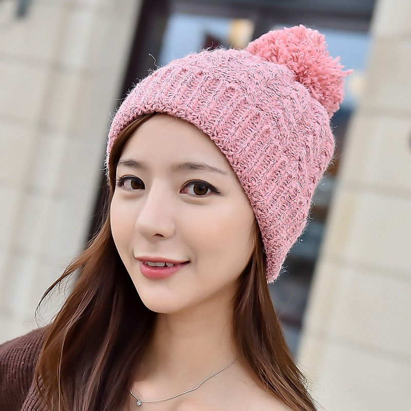 Women Ladies Crochet Knitted Beret Hat Ski Beanie Ball Wool Winter Warm Cap