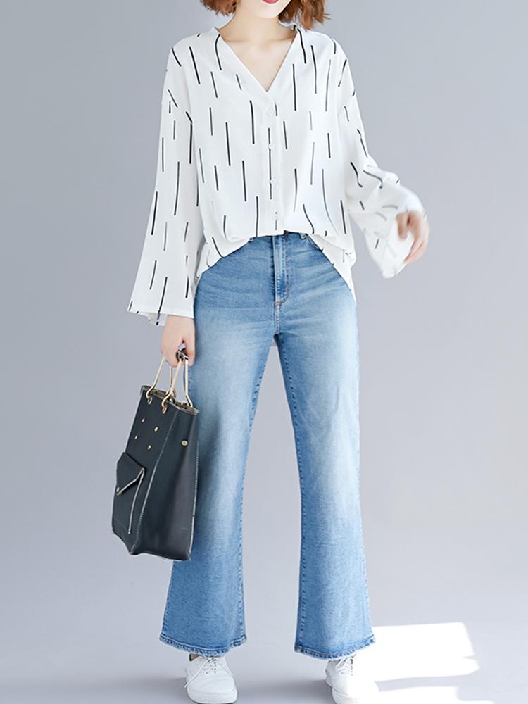 Women Casual Stripe V-neck Long Sleeve Irregular Blouse