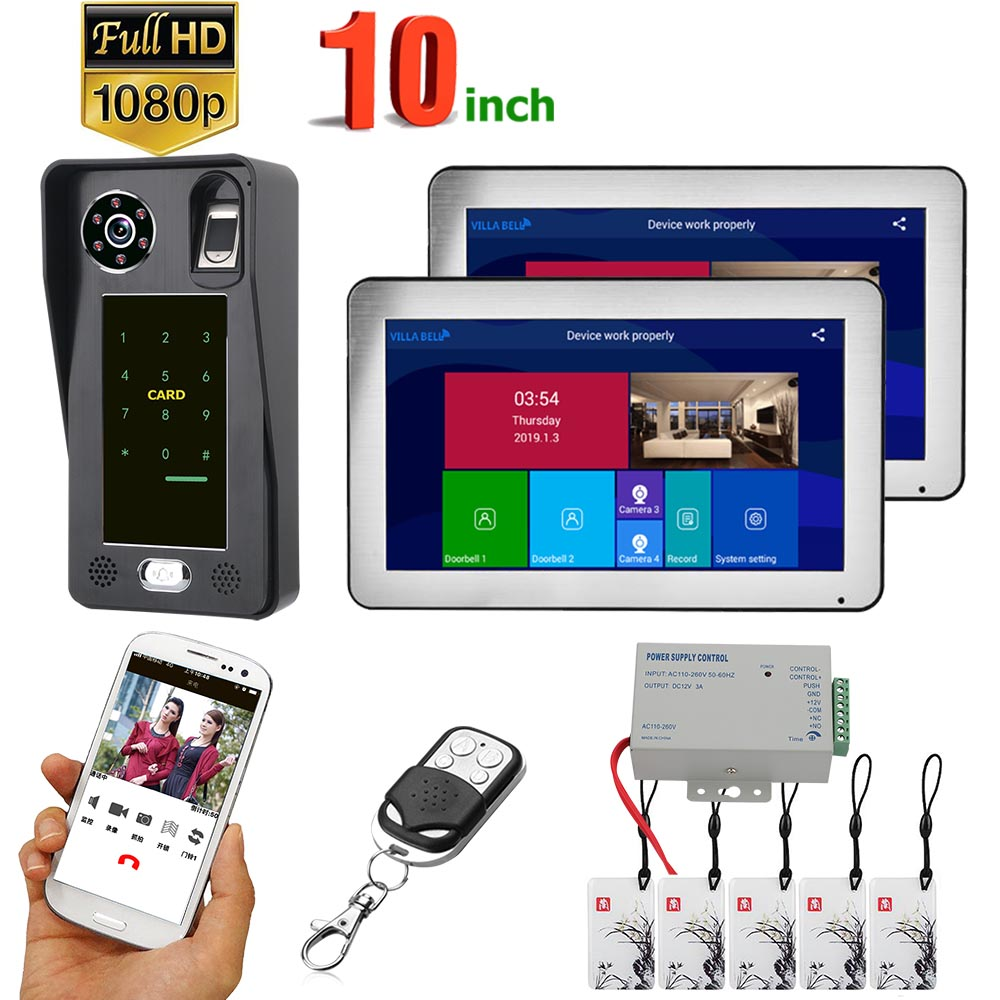 ENNIO 10 inch 2 Monitors Wifi Wireless Fingerprint IC Card Video Door Phone Doorbell Intercom System with Wired AHD 1080P Door Access Control System,Support Remote APP Unlocking,Recording