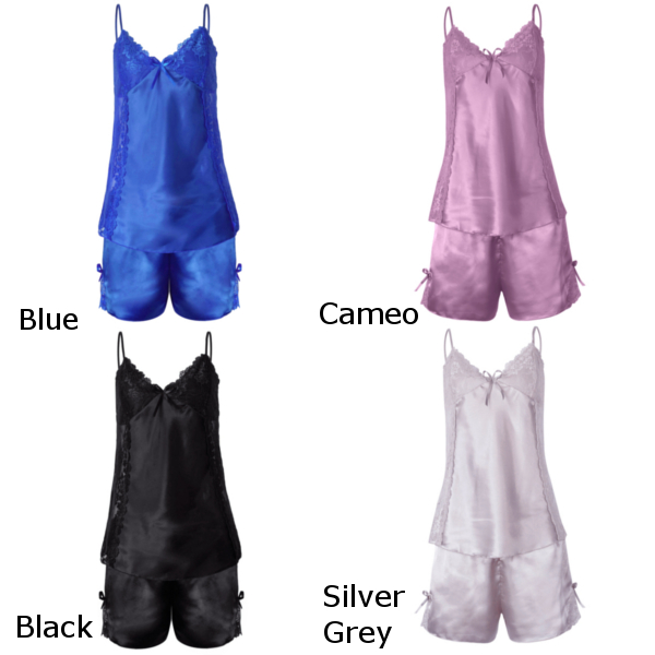 Women Sexy Lace Hollow Sleepwear Bowknot Silk Spaghetti Strap Nightwear