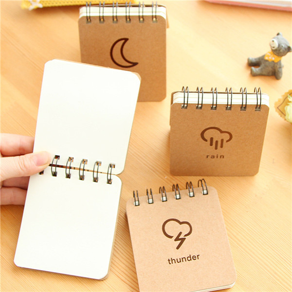 Notebook Coil Weather Pattern Mini Pocket Sketch Book Diary Journal