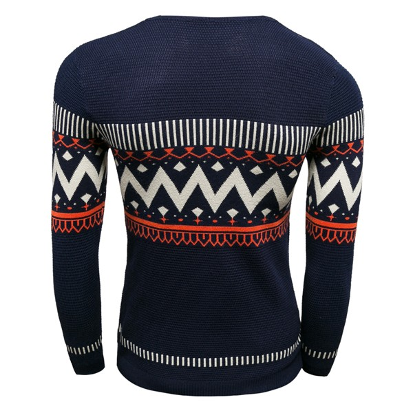 Mens Stripe Wave Printing V-neck Sweater Fashion Long Sleeve Fit Slim Pullover
