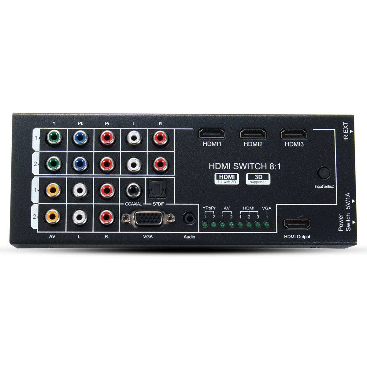 Digital Multifunction Video Audio Adapter HD Converter 8 Inputs to 1 HD