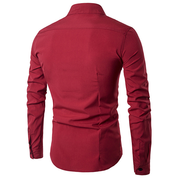 Mens Fashion Oblique Asymmetric Stand Collar Long Sleeve Slim Fit Casual Shirt