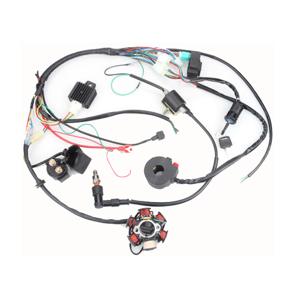 50cc 125cc mini atv complete wiring harness cdi stator 6. Black Bedroom Furniture Sets. Home Design Ideas