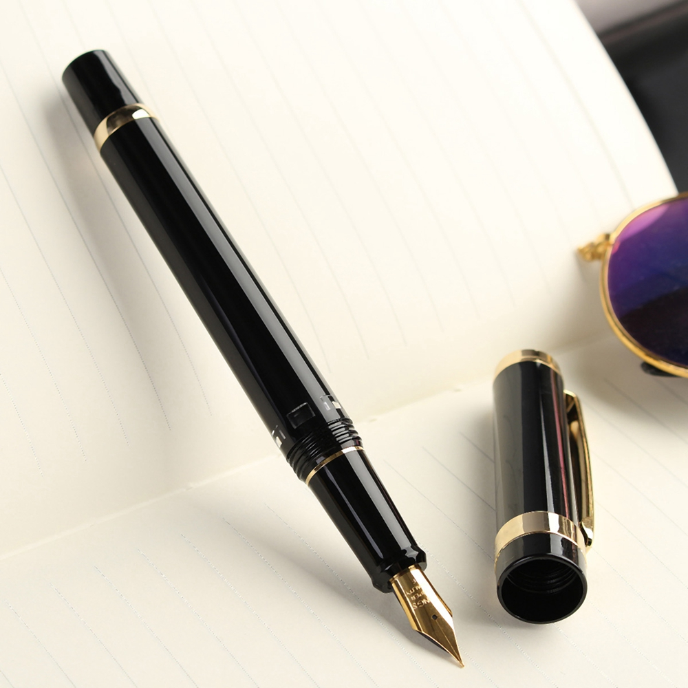 Luxury Wingsung 698 Piston Fountain Pen 0.5mm Softer Nib Unique Writing Ink Pens Supplies