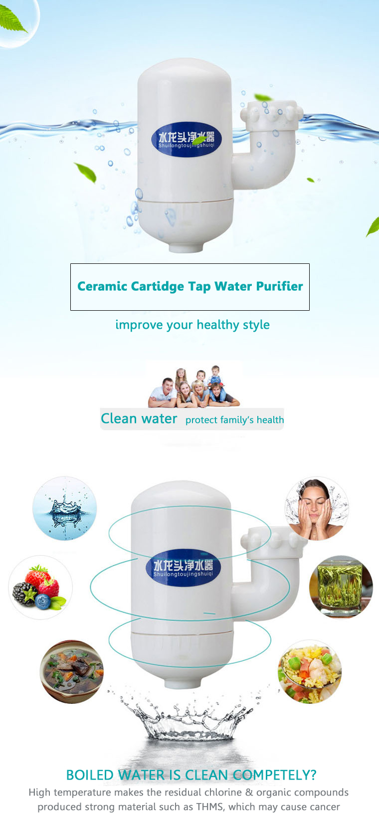 Ceramic Cartidge Tap Water Filter Purifier Kitchen Faucet Activated Carbon Filter Household