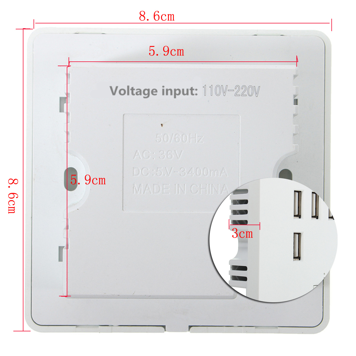 Excellway® 3.4A AC Power Wall Receptacle Socket Plate Charger Outlet Panel with 6 USB Port