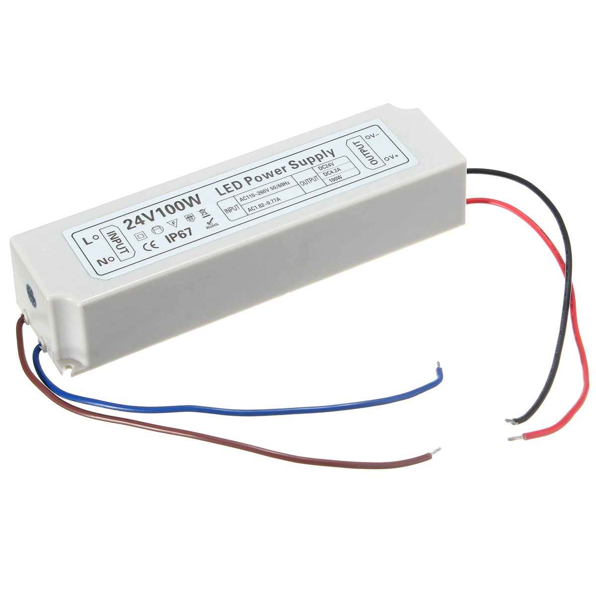 IP67 100W AC100-264V To DC24V Switching Power Supply Driver Adapter