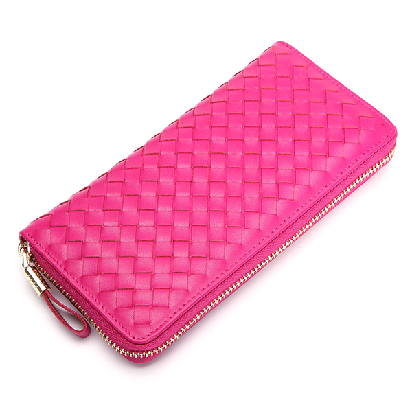 Women Men Genuine Leather Woven Pattern 8 Card Slots Cell Phone Wallet Coins Bag Wallet