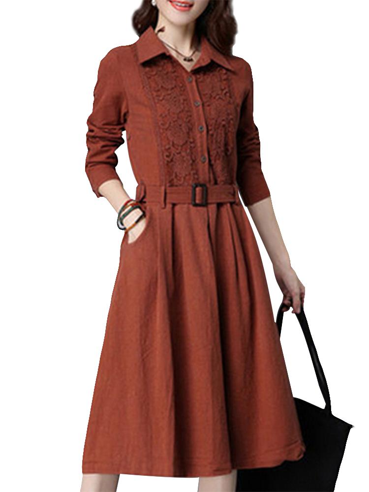 Vintage Lace Patchwork Pleated Long Sleeve Tunic Belt Women Dress