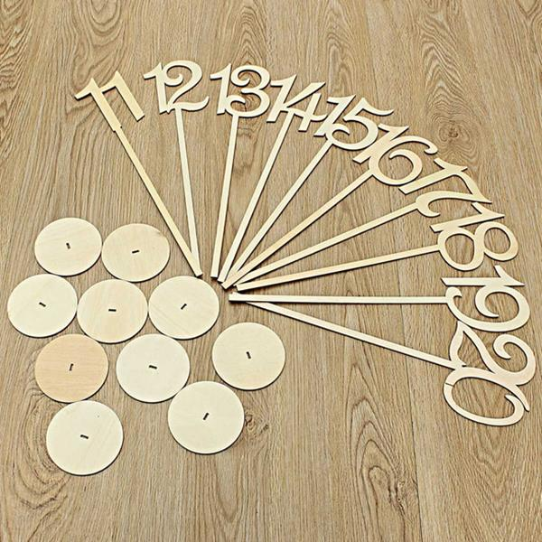 10Pcs/Set Wedding Wood Place Holder Table Numbers 11-20 Stick Set Base French Party Decoration