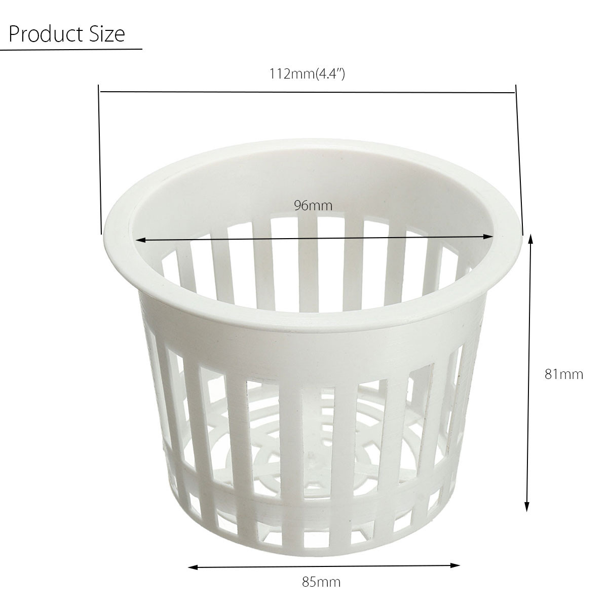 11.2cm White Hydroponic Mesh Plastic Pot Net Cup Basket Aeroponic Garden Plant Grow Clone Container