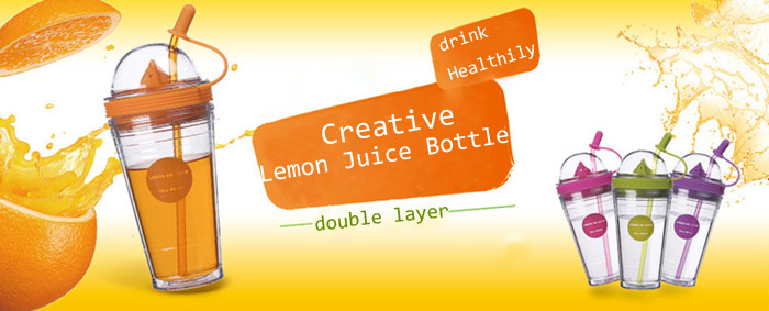 Double Layer Insulated Lemon Juice Bottle Cup Juicer Bottle With Straw