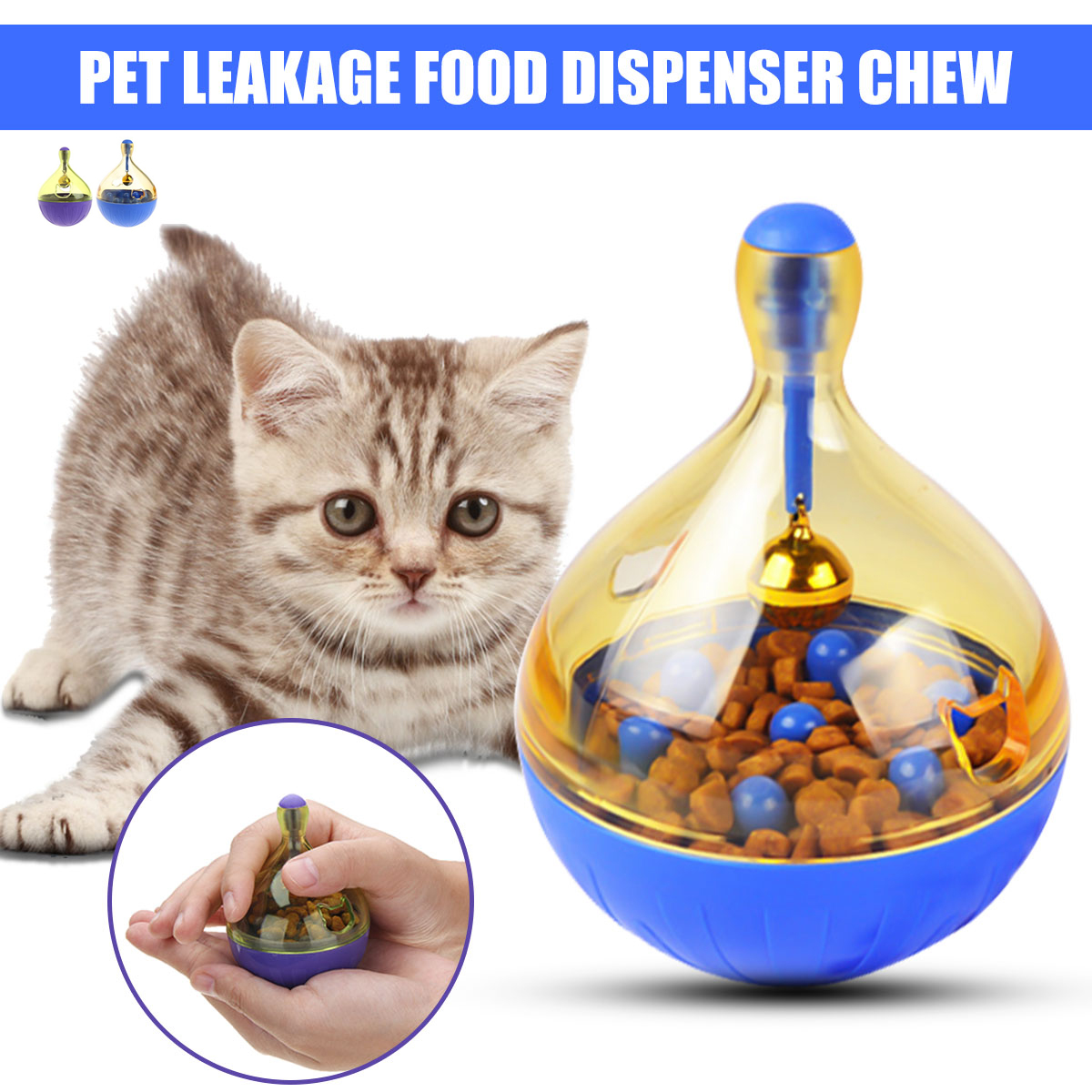 S/L Pet Dog Cat Puppy Tumbler Leakage Food Dispenser Feeder Interactive Toy
