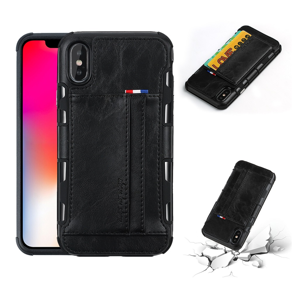 PU Leather Multi-card Slot Protective Case for iPhone X